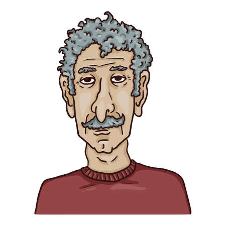 Vector Cartoon Character - Old Man with Curly Gray Hair and Moustache. Male Retired Person Portrait. Çizim
