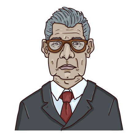 Vector Cartoon Character - Old Man in Eyeglasses and Suit. Male Retired Person Portrait. Çizim