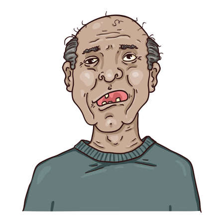 Vector Cartoon Character - Toothless Old Man. Male Retired Person Portrait.