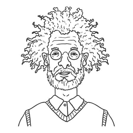 Vector Outline Character - Old Man with Curly Hair and Eyeglasses. Male Retired Person Portrait.