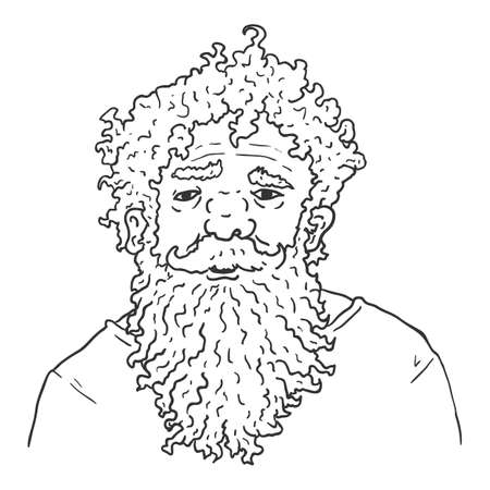 Vector Outline Character - Shaggy Old Man with Huge Beard. Male Retired Person Portrait.