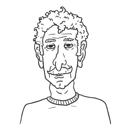 Vector Outline Character - Old Man with Curly Hair and Moustache. Male Retired Person Portrait.