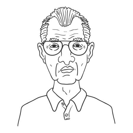 Vector Outline Character - Old Man in Eyeglasses. Male Retired Person Portrait.