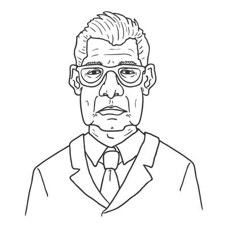 Vector Outline Character - Old Man in Eyeglasses and Suit. Male Retired Person Portrait.