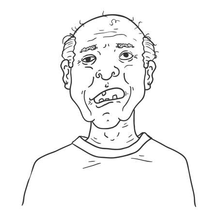 Vector Outline Character - Toothless Old Man. Male Retired Person Portrait.
