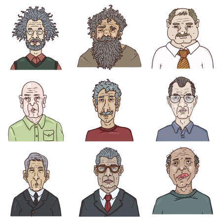 Vector Set of Cartoon Characters - Old Men. Retired People Faces.