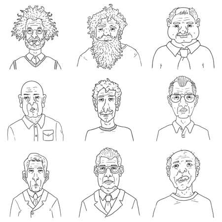 Vector Set of Outline Characters - Old Men. Retired People Faces.