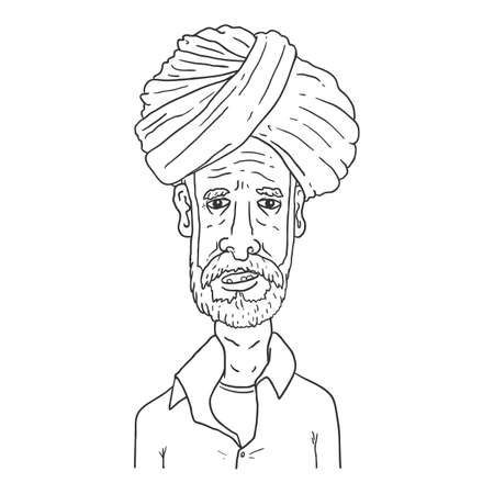 Vector Outline Character - Old Indian Man in Tradition Turban Headwear Vector Illustration
