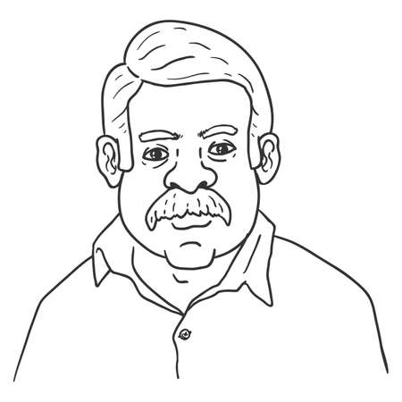 Vector Outline Character - Indian Man with Mustache