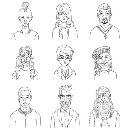 Vector Set of Outline Characters Faces. Different Subculture Portraits.