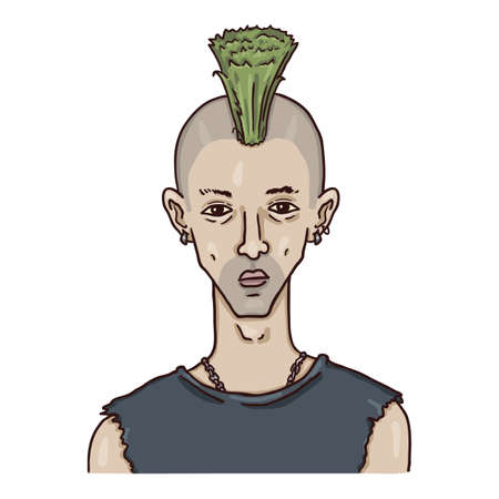 Vector Cartoon Character - Punk Young Man with Irokez. Subcultures Portrait