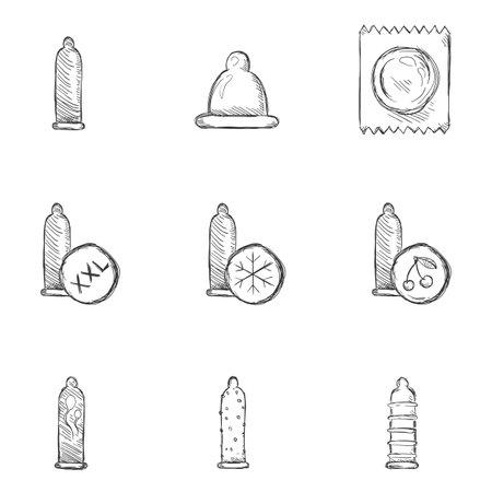 Vector Set of Penciling Sketch Condom Icons