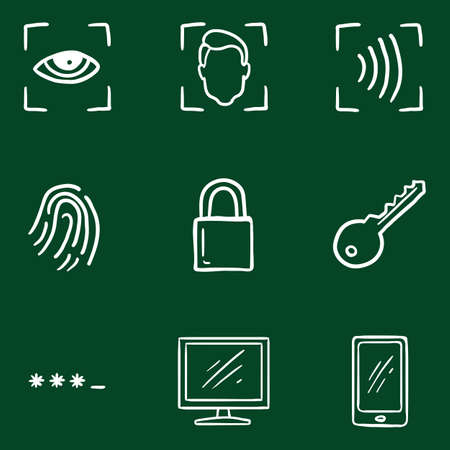 Vector Set of Hand Drawn Chalk Doodle Cyber Security Icons.