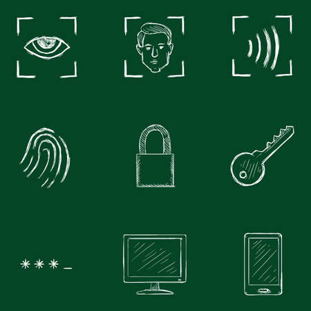 Vector Set of Chalk Sketch Cyber Security Icons. Illustration