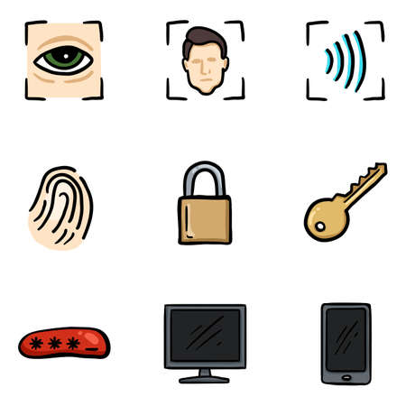 Vector Set of Hand Drawn Color Cyber Security Icons.