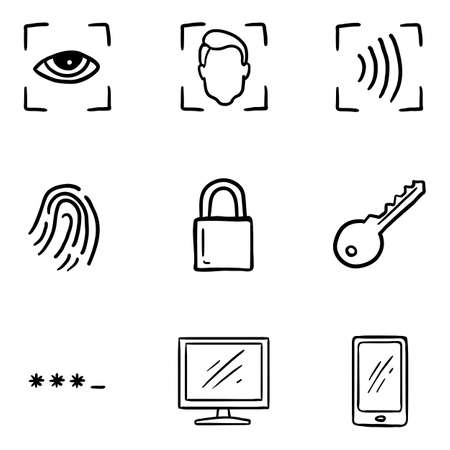 Vector Set of Hand Drawn Doodle Cyber Security Icons.