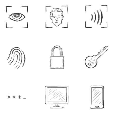 Vector Set of Sketch Cyber Security Icons.