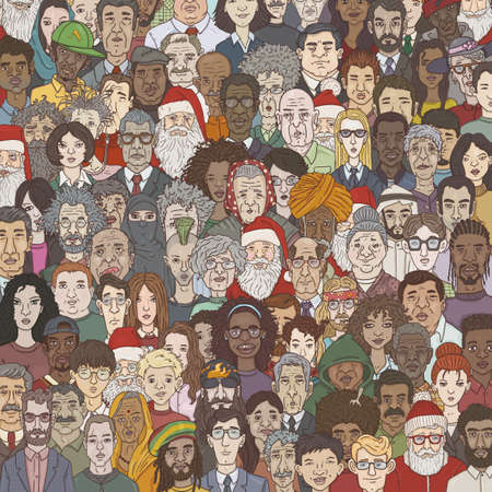 Vector Cartoon Illustration - Crowd of People Different Age, Nation and Occupation. Background of Characters Faces.