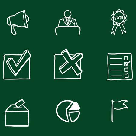 Vector Set of Chalk Doodle Elections Icons. Politics Vote Pictograms. Illustration