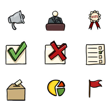 Vector Set of Color Hand Drawn Elections Icons. Politics Vote Pictograms.
