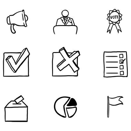 Vector Set of Outline Doodle Elections Icons. Politics Vote Pictograms.
