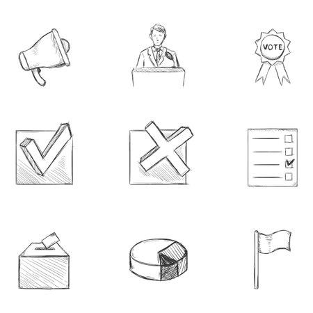 Vector Set of Sketch Elections Icons. Politics Vote Pictograms.