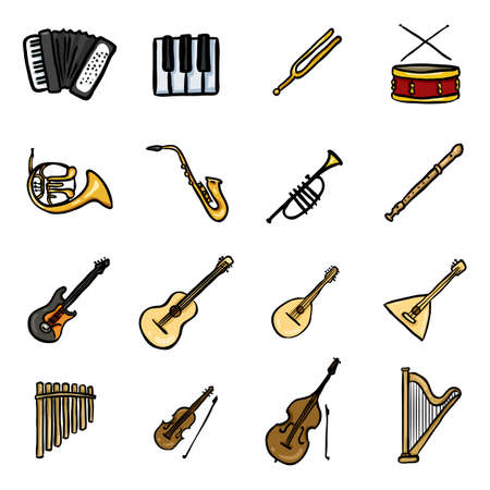 Vector Set of Color Doodle Musical Instruments Icons Illustration