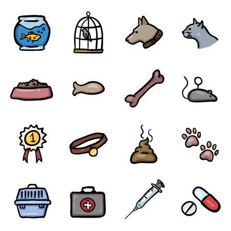 Vector Set of Color Doodle Pets Icons