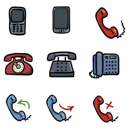 Vector Set of Color Doodle Telephone Icons