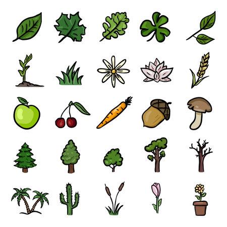 Vector Set of Color Doodle Plants Icons