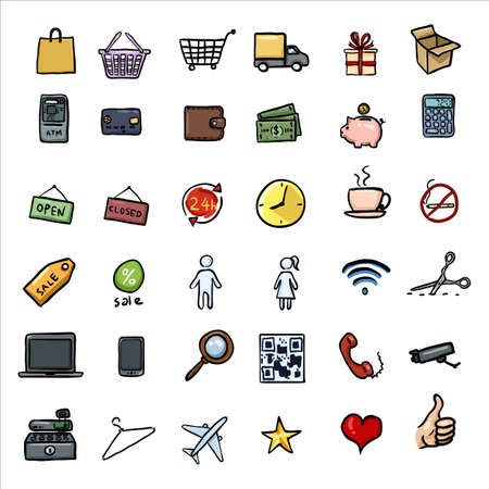 Vector Set of Color Doodle Shopping Icons Illustration
