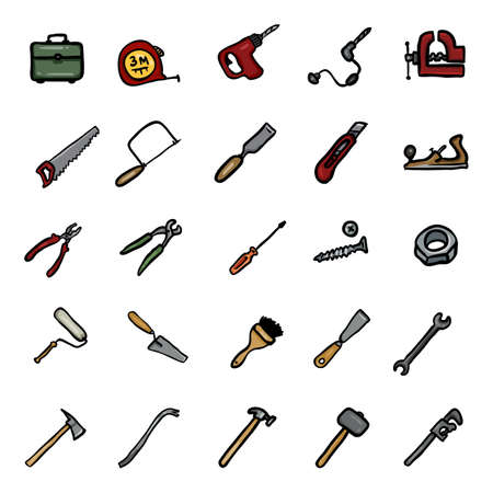 Vector Set of Color Doodle Work Tools Icons
