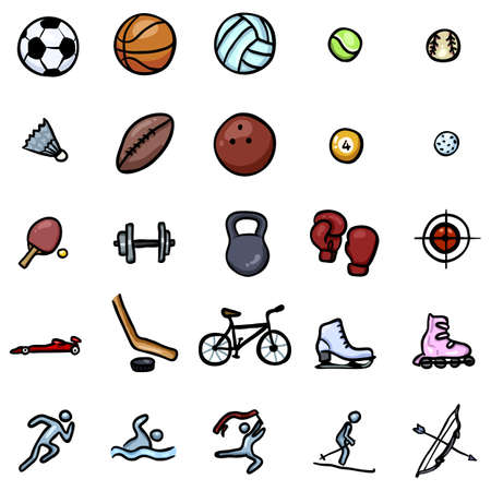 Vector Set of Color Doodle Sports Icons Illustration