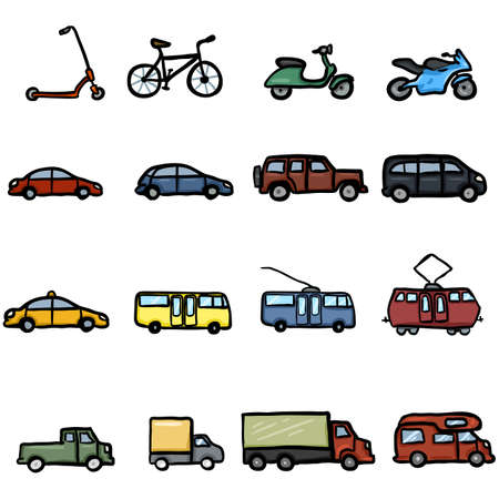 Vector Set of Color Doodle Ground Transportation Icons