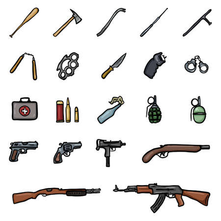 Vector Set of Color Doodle Weapon Icons