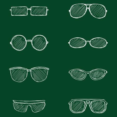 Vector Set of Hand Drawn Chalk Sketch Eyeglasses Icons. Illustration