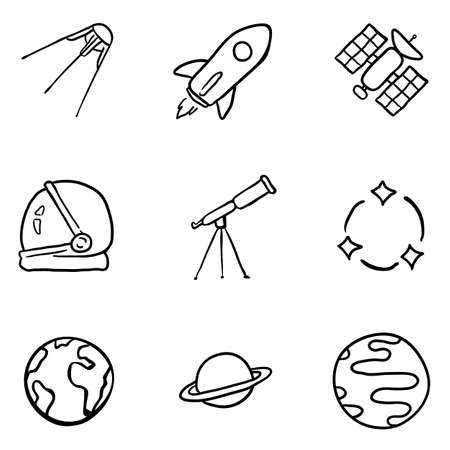 Vector Set of Black Doodle Space Icons. Astronomy Symbols.