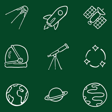 Vector Set of Chalk Space Icons. Astronomy Symbols. Illustration