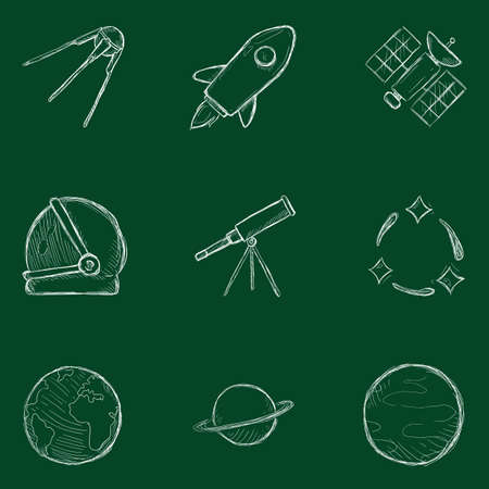 Vector Set of Chalk Sketch Space Icons. Astronomy Symbols.
