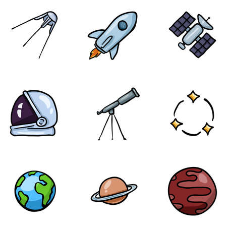 Vector Set of Color Doodle Space Icons. Astronomy Symbols. Illustration