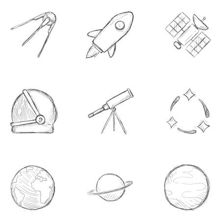 Vector Set of Sketch Space Icons. Astronomy Symbols.