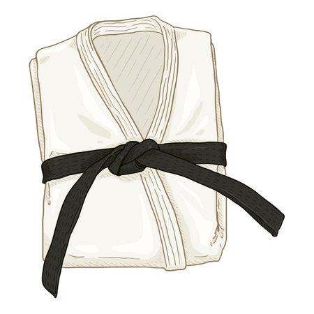 Folded White Karate Kimono with Black Belt. Vector Cartoon Gi Illustration. Illustration