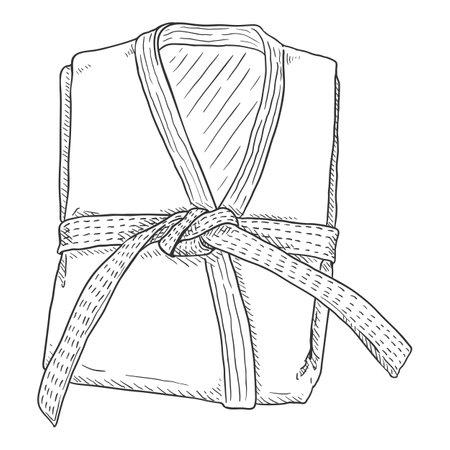 Folded White Karate Kimono with Belt. Vector Sketch Gi Illustration. Illustration