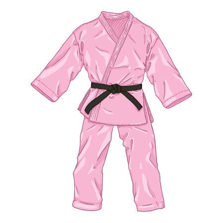 Pink Karate Kimono with Black Belt. Vector Cartoon Gi Illustration.