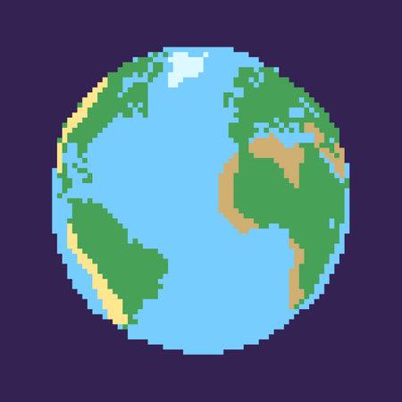 Vector Pixel Globe Illustration on Dark Background