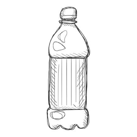 Vector Penciling Sketch Plastic Bottle. Hand Drawn Drink Illustration.