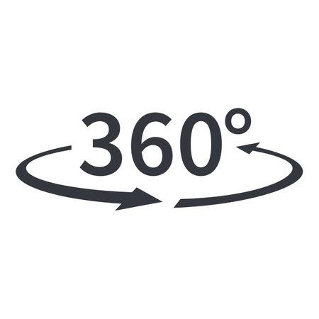 Vector Black 360 Degrees Icon. Around View Symbol.