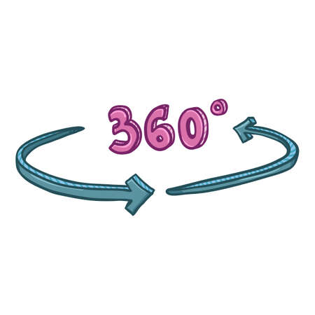 Vector Cartoon 360 Degrees View Icon Illustration