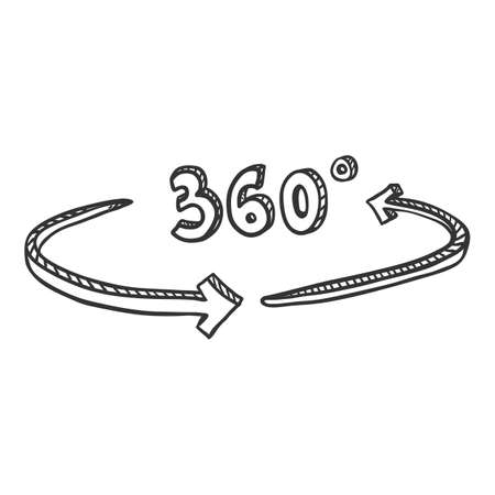 Vector Hand Drawn Sketch 360 Degrees View Icon