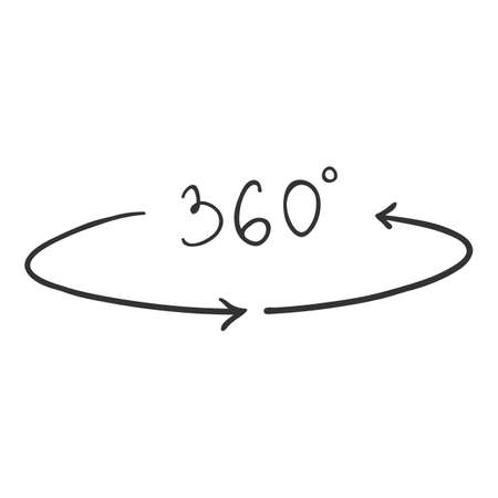 Vector Hand Drawn Doodle 360 Degrees View Icon